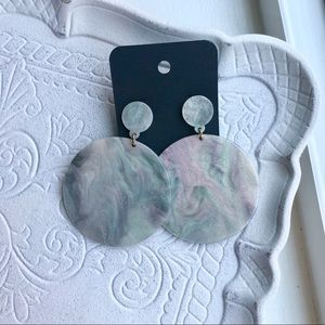 NWT Glittery Marble Round Drop Post-Back Earrings